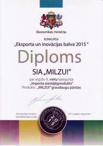 Eksporta un inovāciju balva 2015